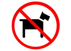 Hundeverbot als Beispiel einer Kombination von Icon und Symbol