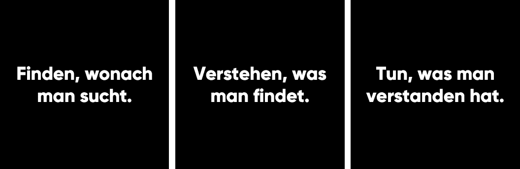 Finden, was man sucht. Verstehen, was man findet. Tun, was man verstanden hat.